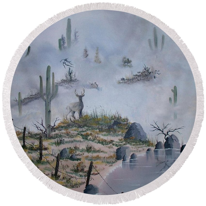 Animals Round Beach Towel featuring the painting Foggy Morning by Patrick Trotter