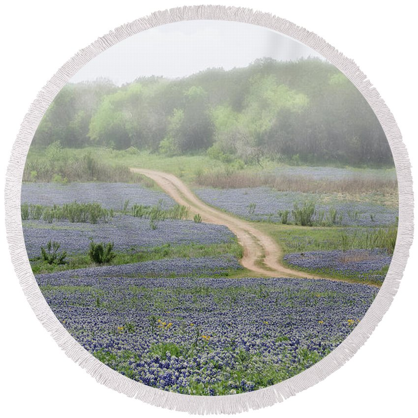 Bluebonnets Round Beach Towel featuring the photograph Foggy Muleshoe Bend by Darla Rae Norwood