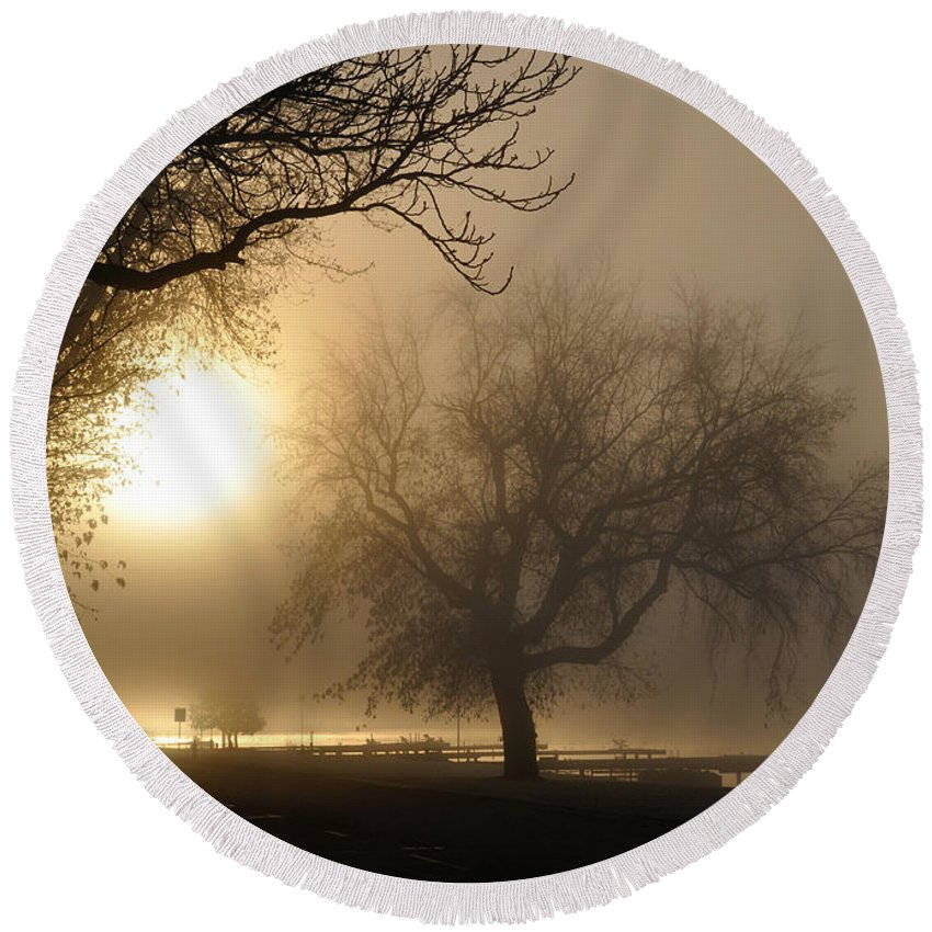 Foggy Round Beach Towel featuring the photograph Foggy November Sunrise On The Bay by Tim Nyberg