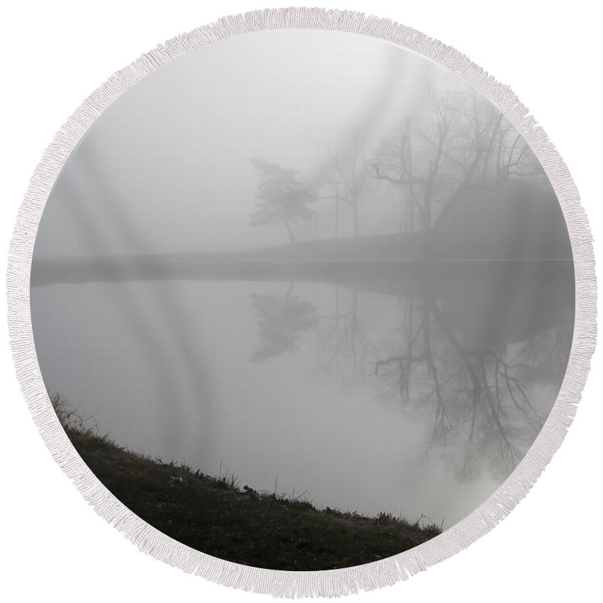 Foggy Pond Round Beach Towel featuring the photograph Foggy Pond by Cynthia Woods