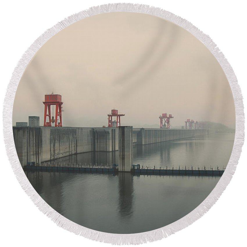 Foggy Round Beach Towel featuring the photograph Foggy Three Gorges Dam by BONB Creative