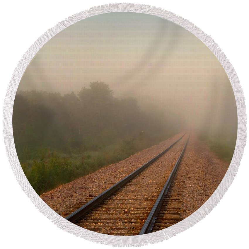 Landscape Round Beach Towel featuring the photograph Foggy Tracks by Julie Dybevik