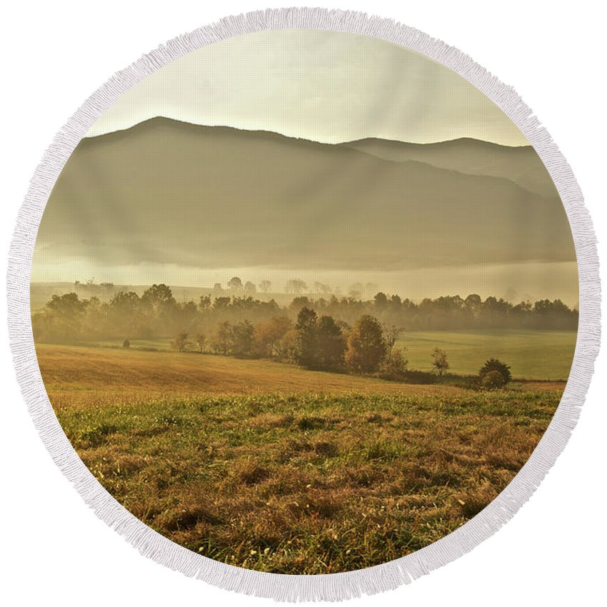 Landscape Round Beach Towel featuring the photograph Foggy Valley by Michael Peychich