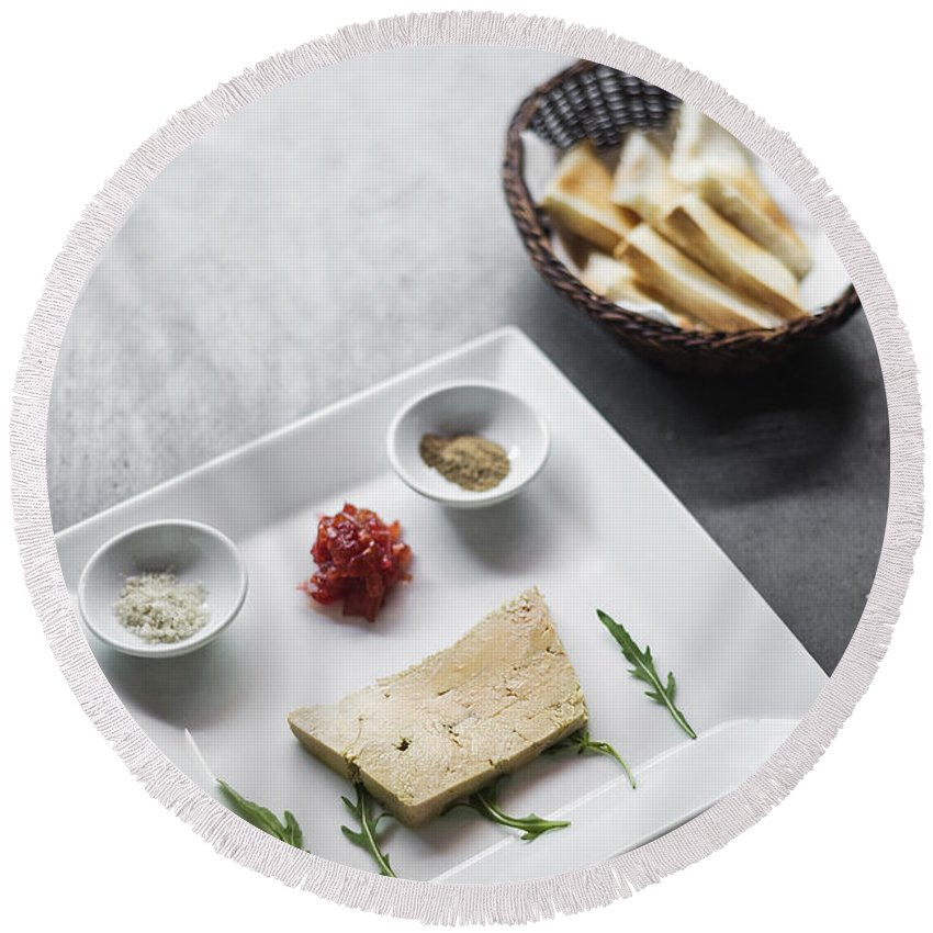 Basic Round Beach Towel featuring the photograph Foie Gras French Traditional Duck Pate With Bread by Jacek Malipan