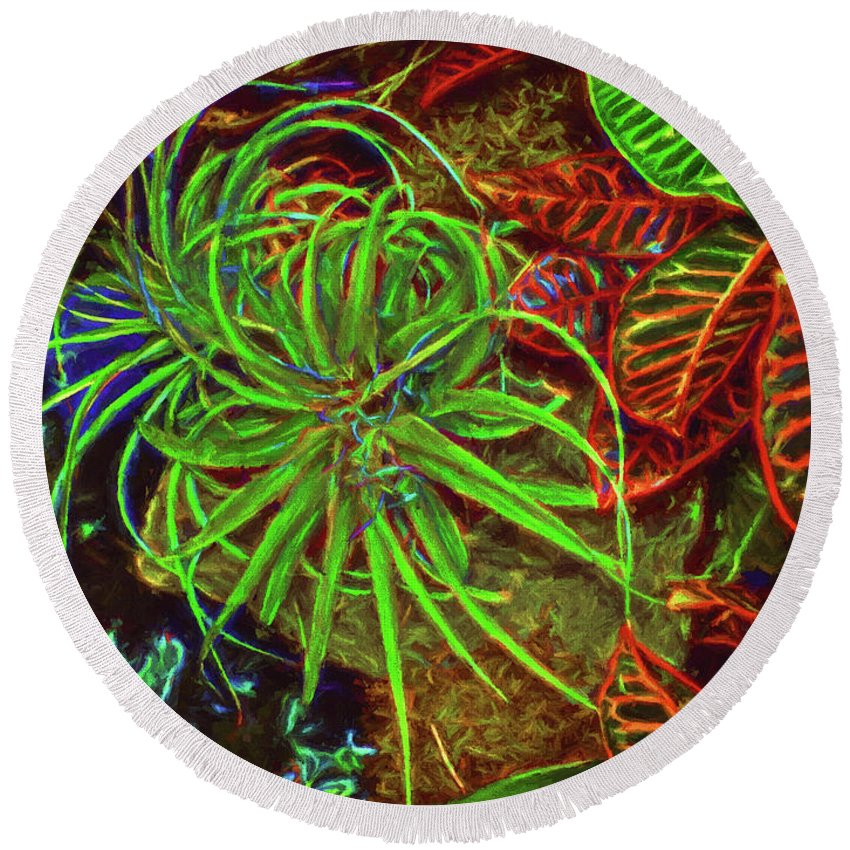 Gardens Round Beach Towel featuring the photograph Foliage Abstract 3698 by William David Thomas