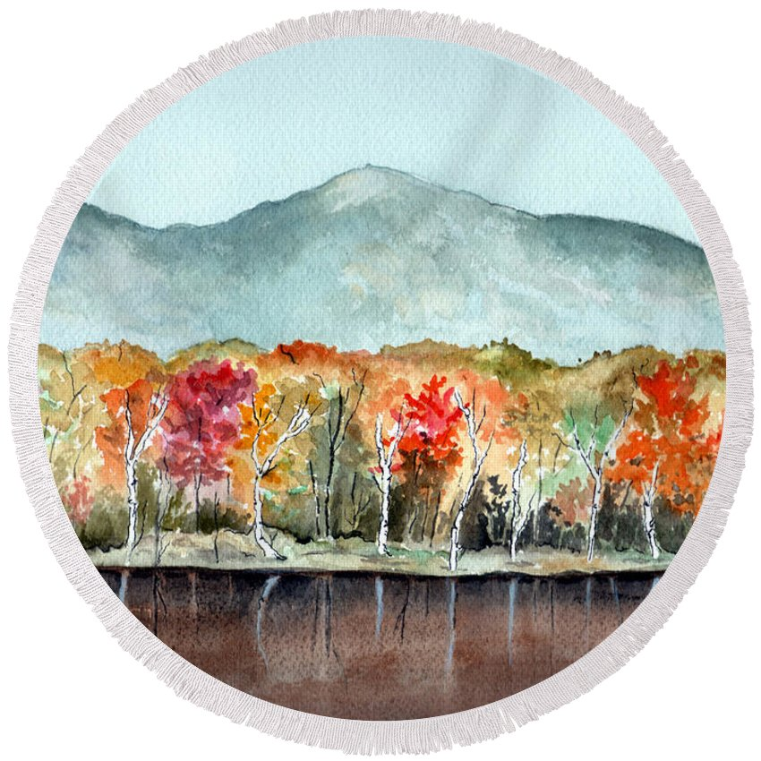 Watercolor Round Beach Towel featuring the painting Foliage by Brenda Owen
