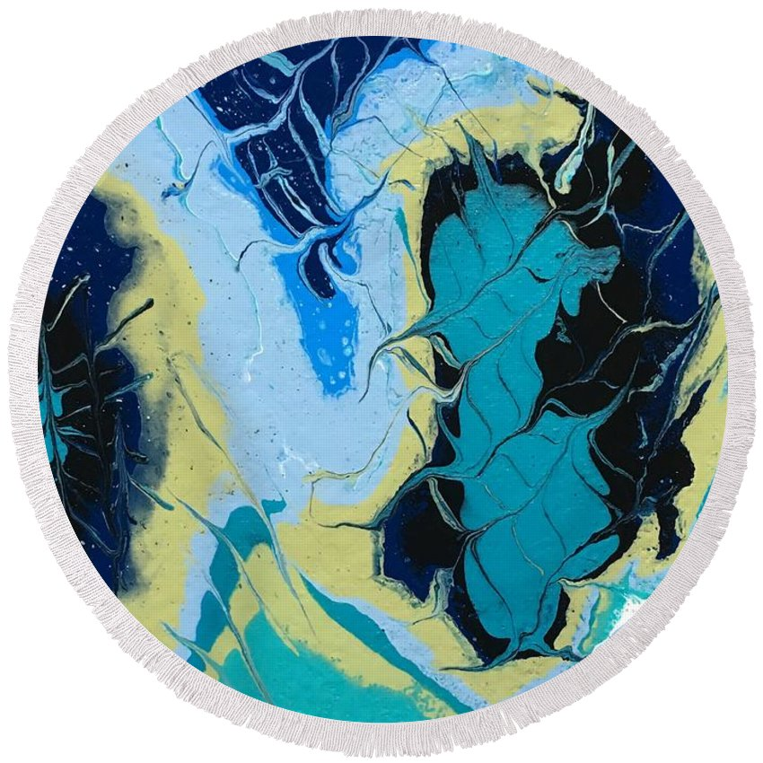 Acrylic On Canvas Round Beach Towel featuring the painting Foliage by Jolene Justine