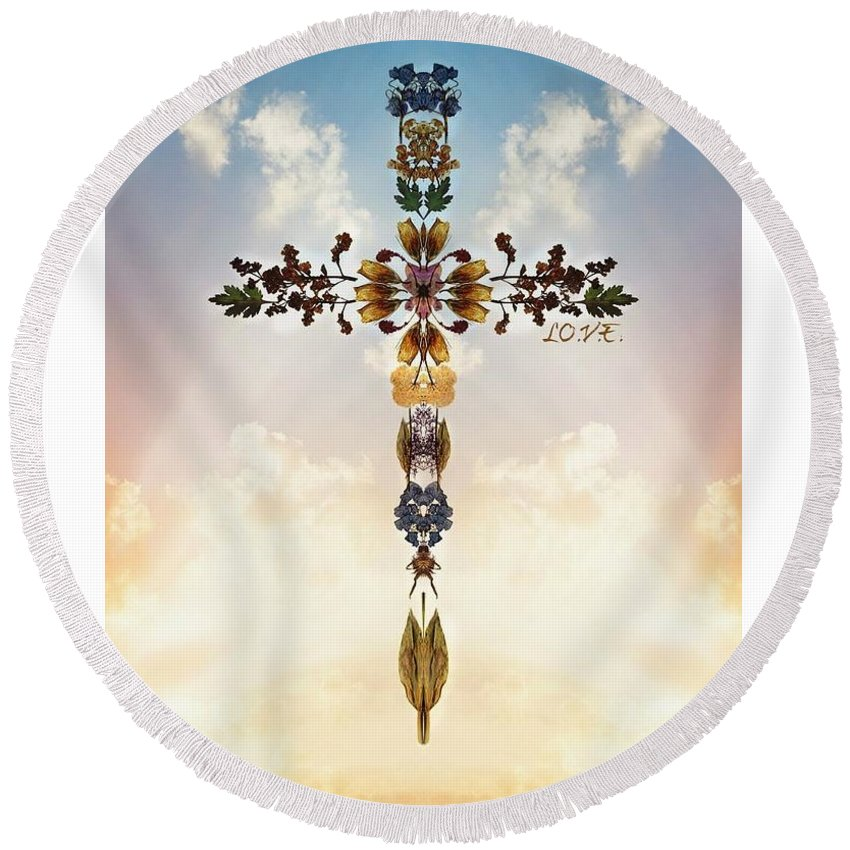 Jesus Round Beach Towel featuring the painting Follow Jesus by Lori Vee Eastwood Designs for Hope