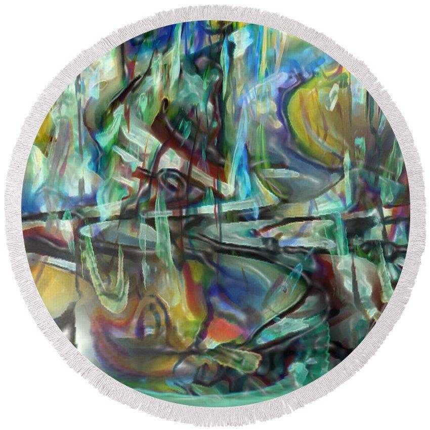Digital Art Round Beach Towel featuring the digital art Follow Me Down To The Valley Below by Linda Sannuti