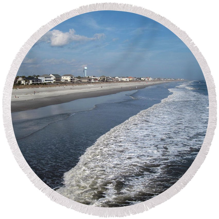 Photography Round Beach Towel featuring the photograph Folly Beach Charleston Sc by Susanne Van Hulst