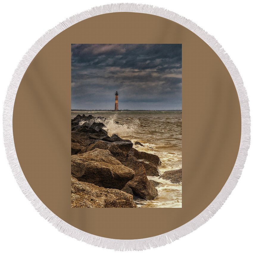 Lighthouse Round Beach Towel featuring the photograph Folly Beach Lighthouse by Reid Northrup
