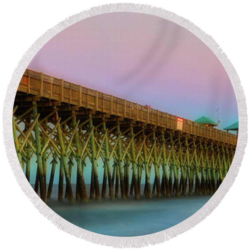 Architecture Round Beach Towel featuring the photograph Folly Pier 1 by Jerry Fornarotto