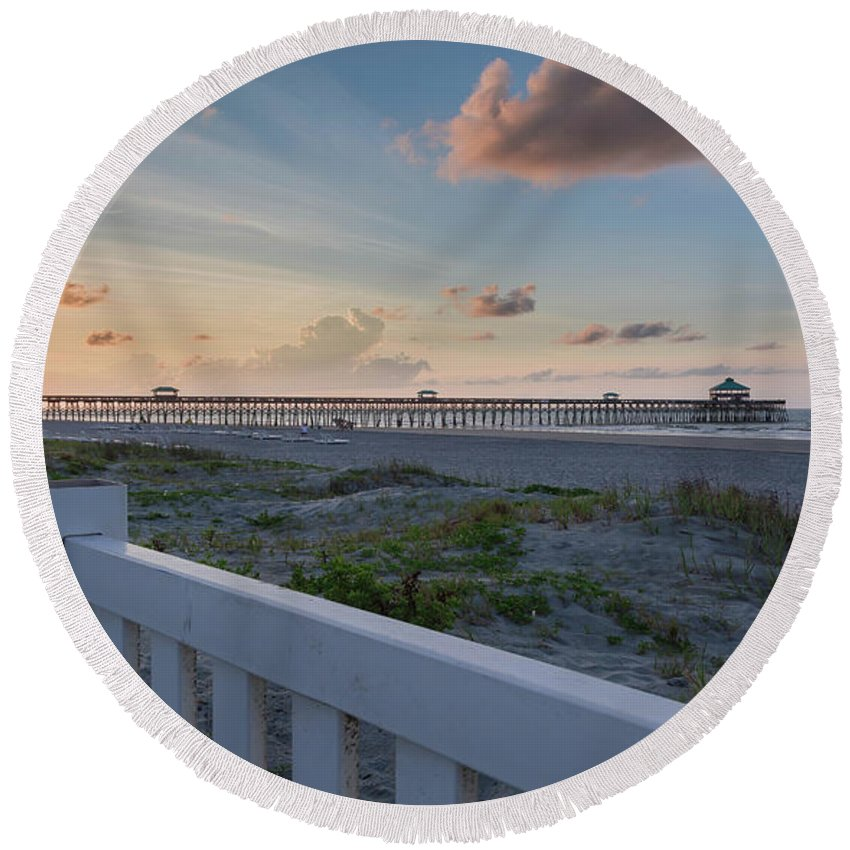 Folly Pier Sunrise Round Beach Towel featuring the photograph Folly Pier Sunrise by Todd Wise