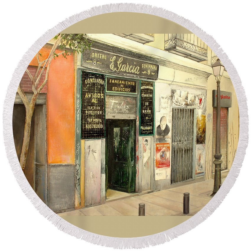 Streetscene Round Beach Towel featuring the painting Fontaneria E.garcia by Tomas Castano