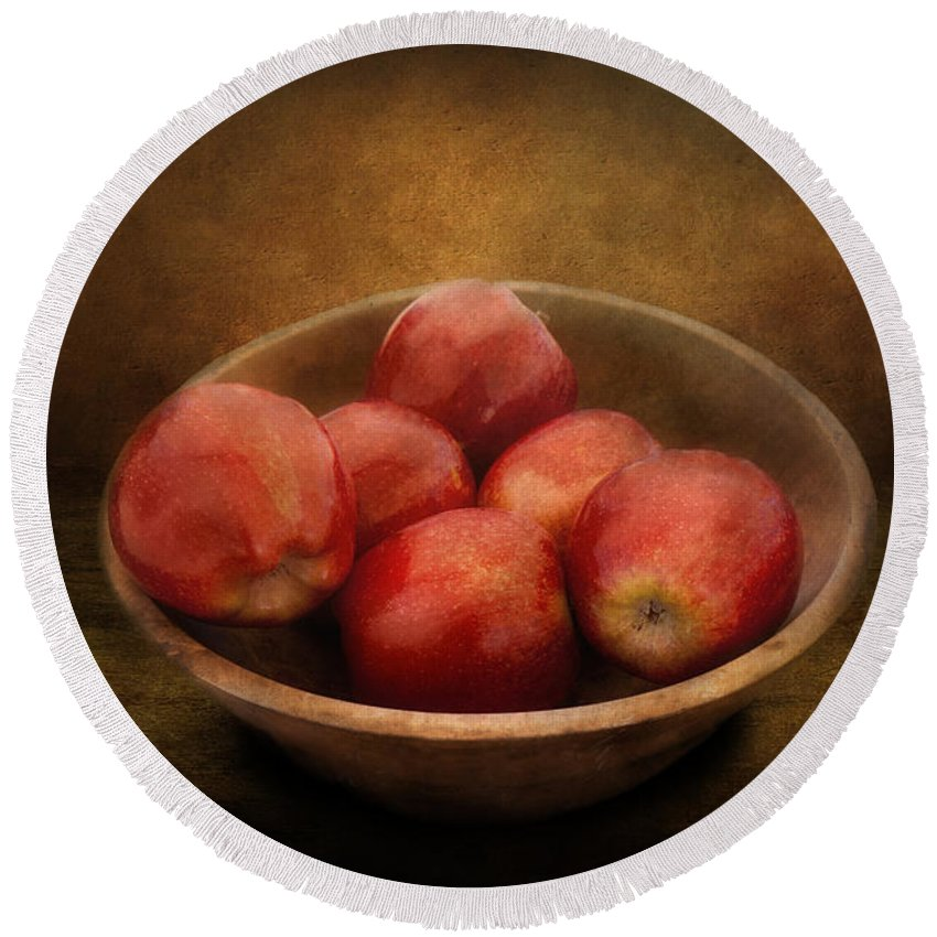 Hdr Round Beach Towel featuring the photograph Food - Apples - A Bowl Of Apples by Mike Savad