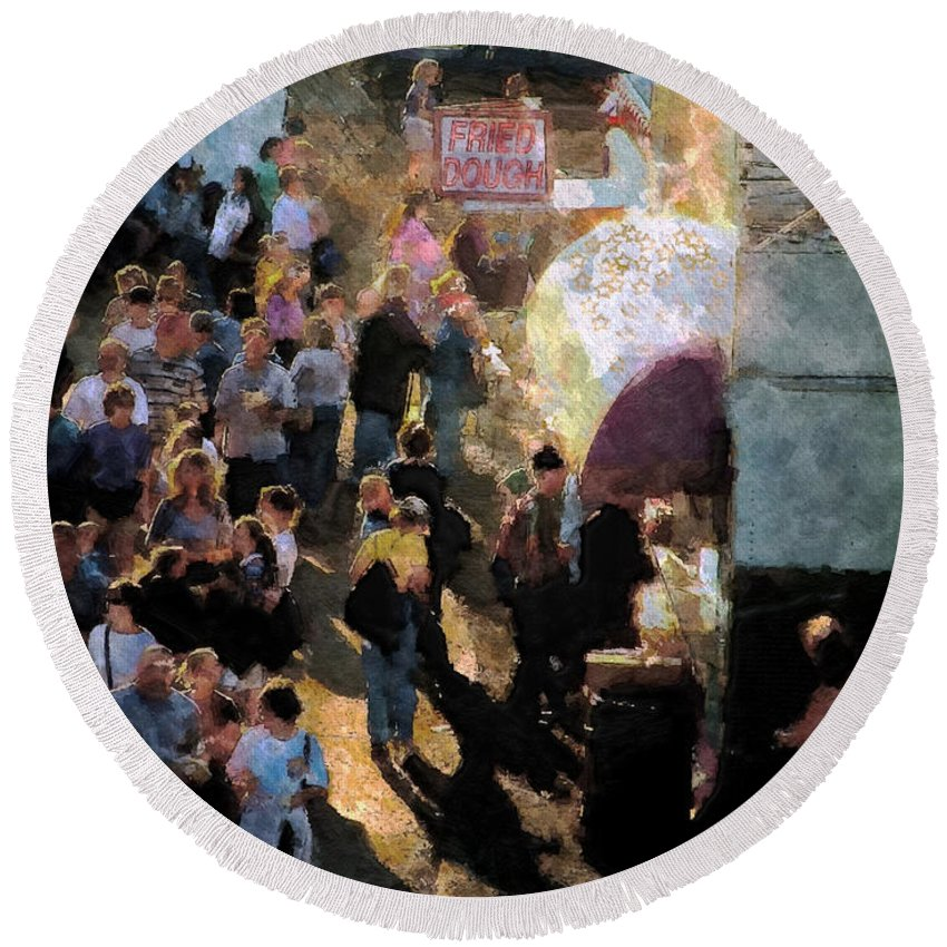 Americana Round Beach Towel featuring the painting Food Alley At The Country Fair by RC DeWinter