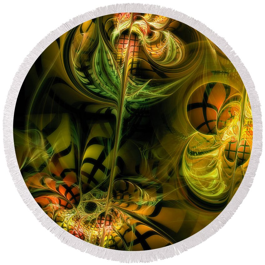Abstract Round Beach Towel featuring the digital art Food For Thought by Casey Kotas