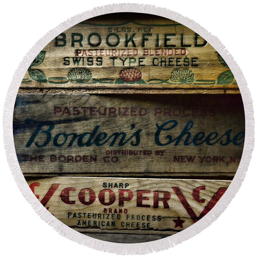 Food Vintage Wooden Cheese Boxes Round Beach Towel