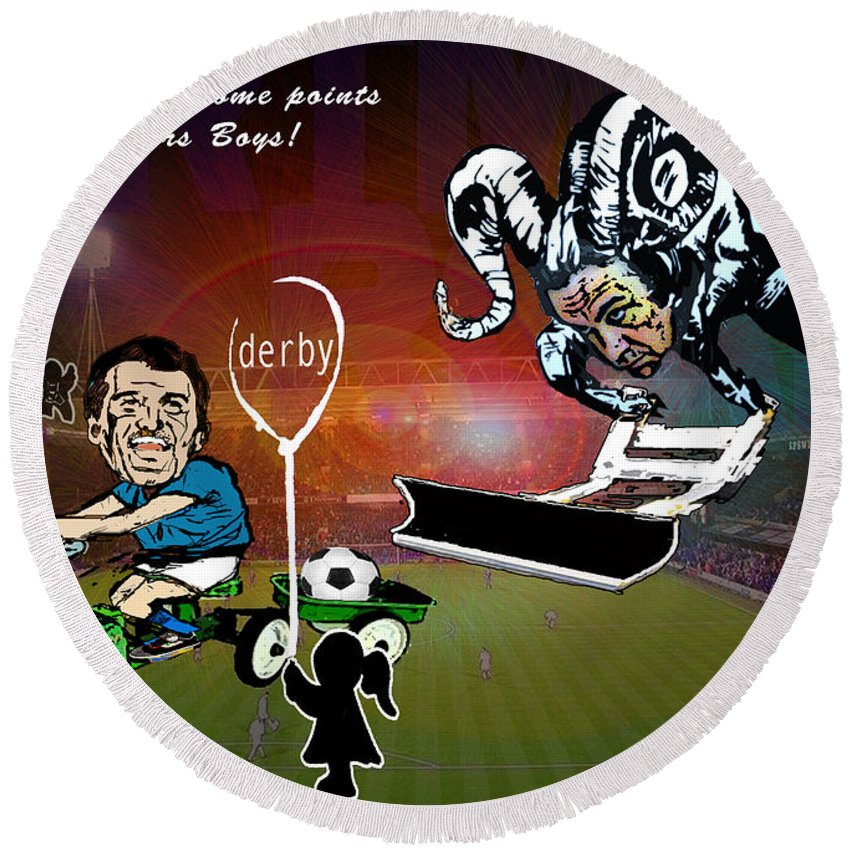 Round Beach Towel featuring the painting Football Derby Rams Against Ipswich Tractor Boys by Miki De Goodaboom
