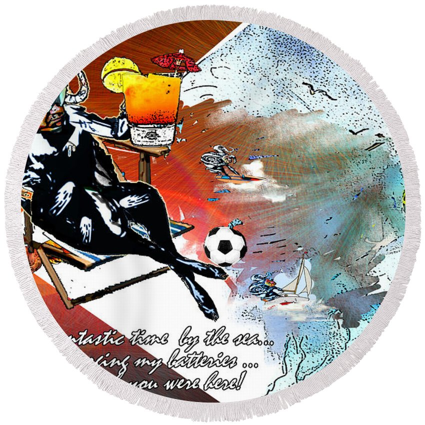 Football Calendar 2009 Derby County Football Club Artwork Miki Round Beach Towel featuring the painting Football Derby Rams On Holidays By The Sea by Miki De Goodaboom