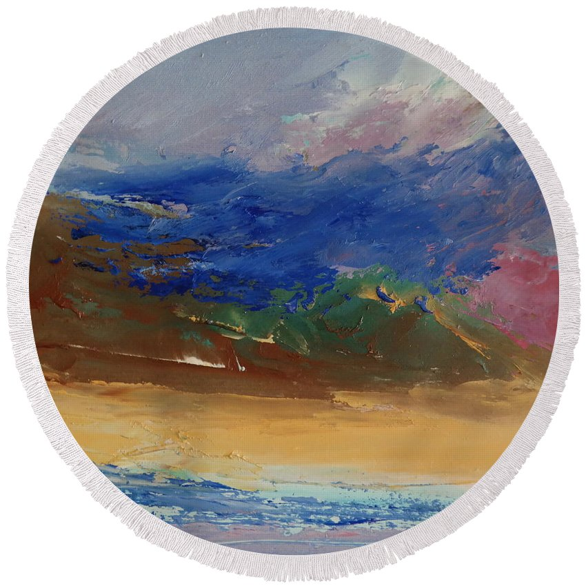 Landscape Round Beach Towel featuring the painting Foothill 04 by Pusita Gibbs