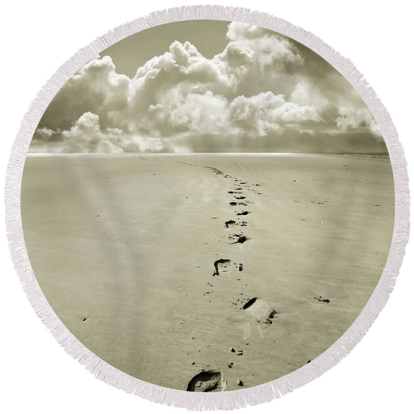 Footprints Round Beach Towel featuring the photograph Footprints In Sand by Mal Bray