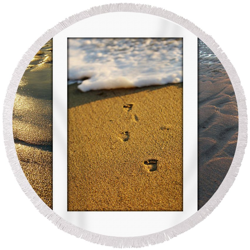 Beach Round Beach Towel featuring the photograph Footprints In The Sand by Jill Reger