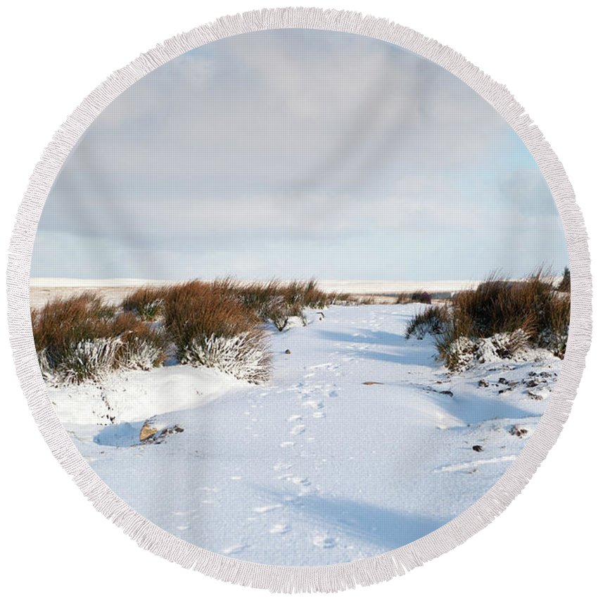Winter Round Beach Towel featuring the photograph Footprints In The Snow Iv by Helen Northcott