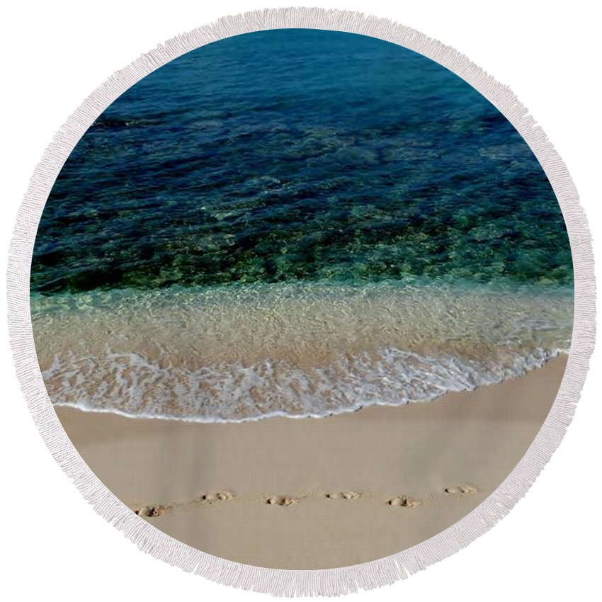 Cayman Islands Stock Photographs Round Beach Towel featuring the photograph Footsteps by Amar Sheow