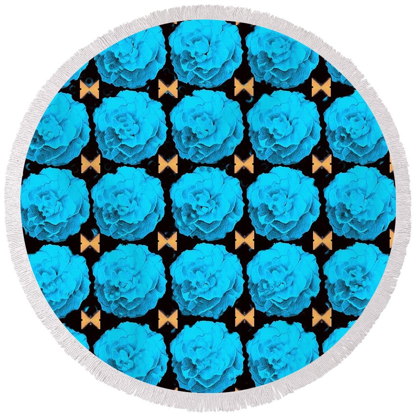 Roses Round Beach Towel featuring the digital art For Every Blue Rose There Is A Butterfly by Helena Tiainen
