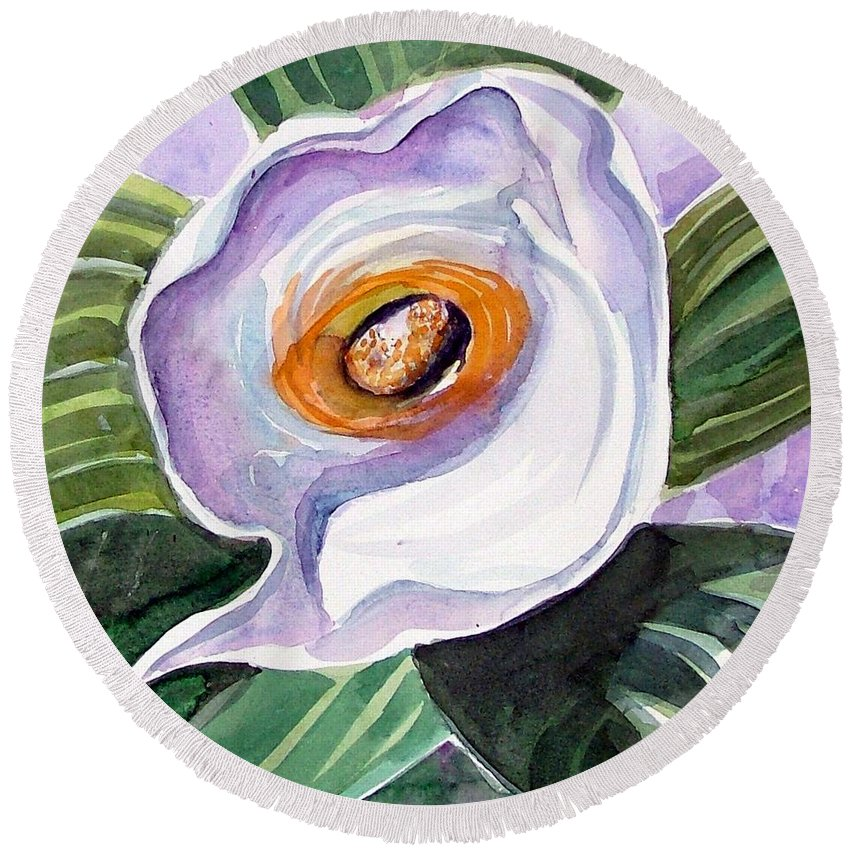 Floral Round Beach Towel featuring the painting For Georgia O Keefe by Mindy Newman