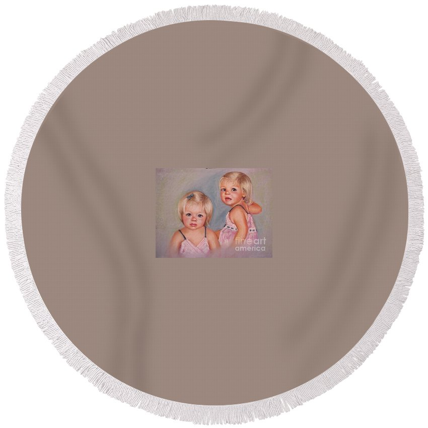 Pastel Portrait Round Beach Towel featuring the pastel for Lisa by Beverly Boulet