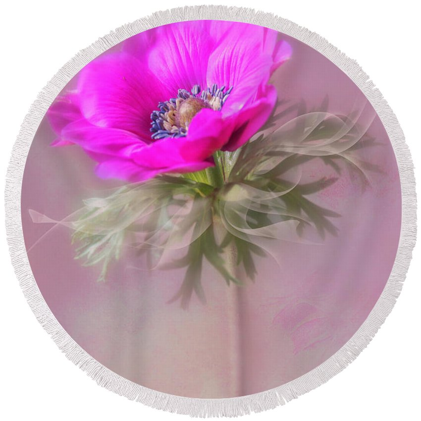 Flower Round Beach Towel featuring the photograph For My Valentine. by Usha Peddamatham