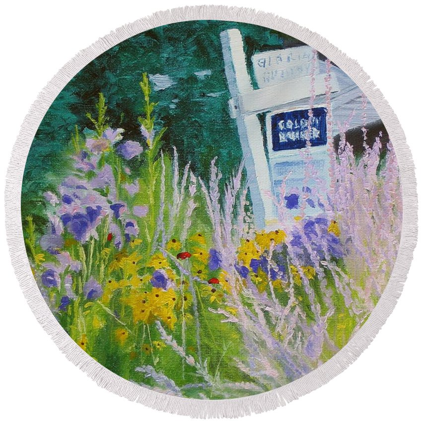 Landscape Round Beach Towel featuring the painting For Sale - A Patch of Paradise by Lea Novak