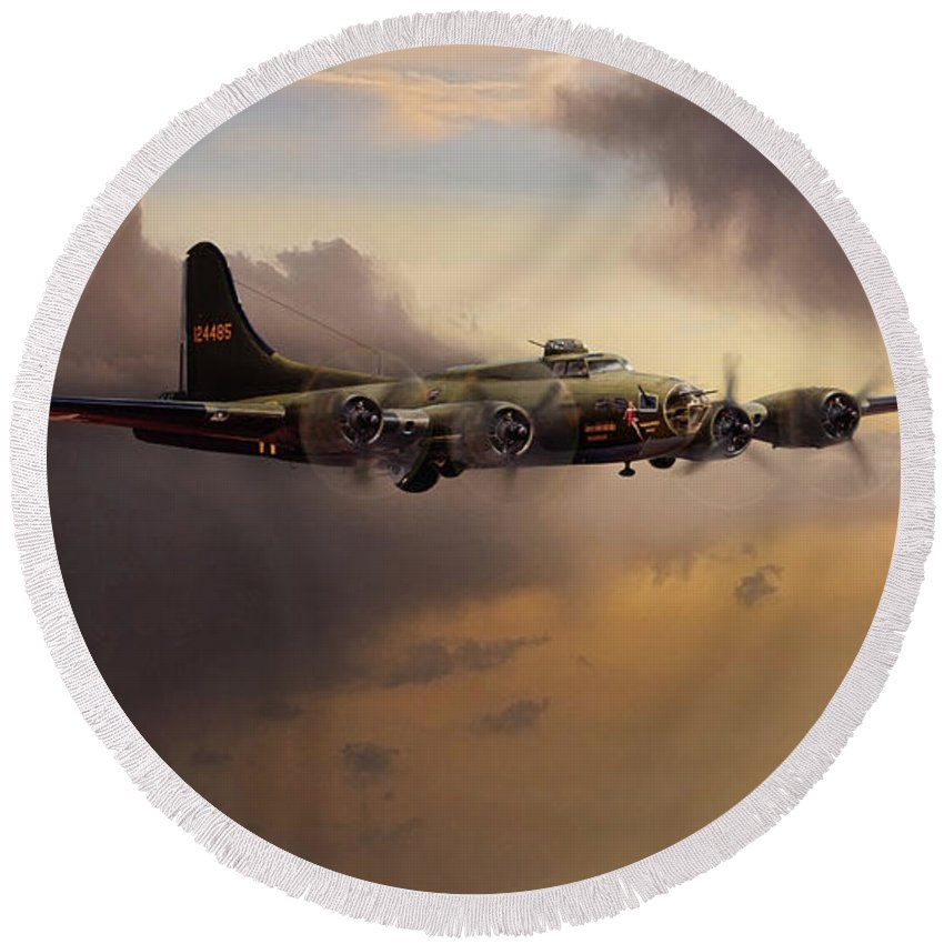 Memphis Belle Round Beach Towel featuring the digital art For Whom The Belle Tolls by Peter Chilelli