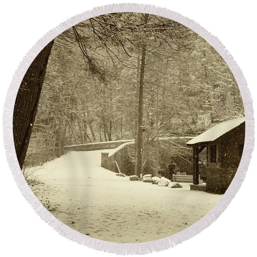 Wissahickon Round Beach Towel featuring the photograph Forbidden Drive In Winter by Bill Cannon