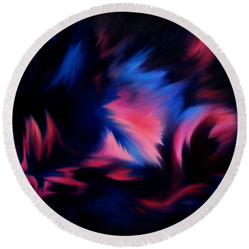Abstract Round Beach Towel featuring the painting Forbidden Words by Rachel Christine Nowicki