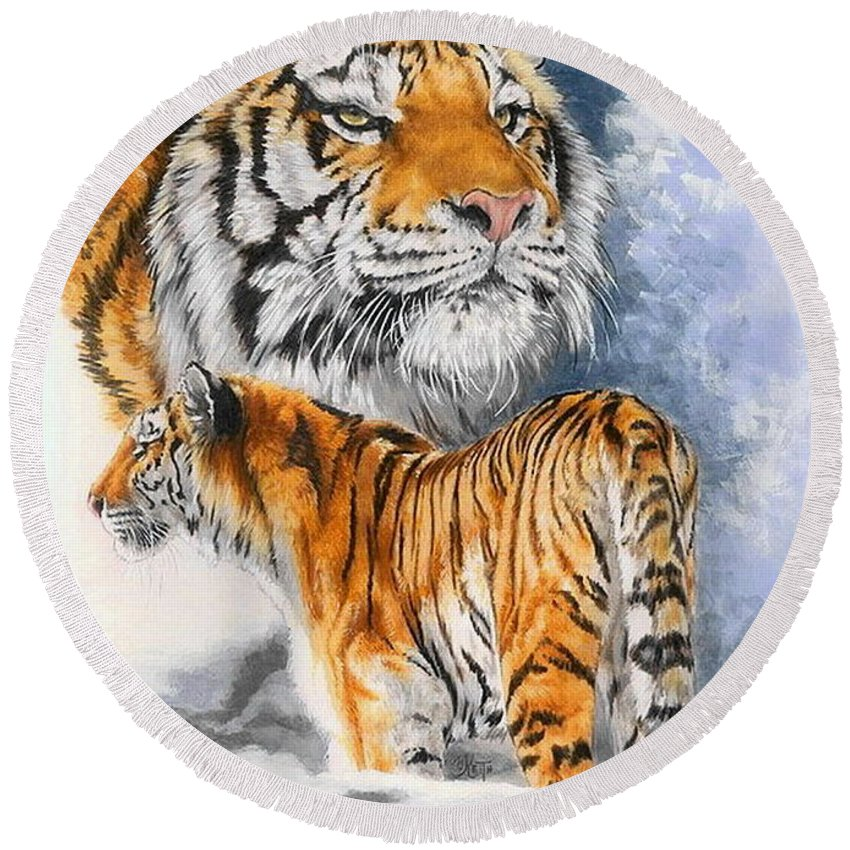 Tigers Mixed Media Round Beach Towels