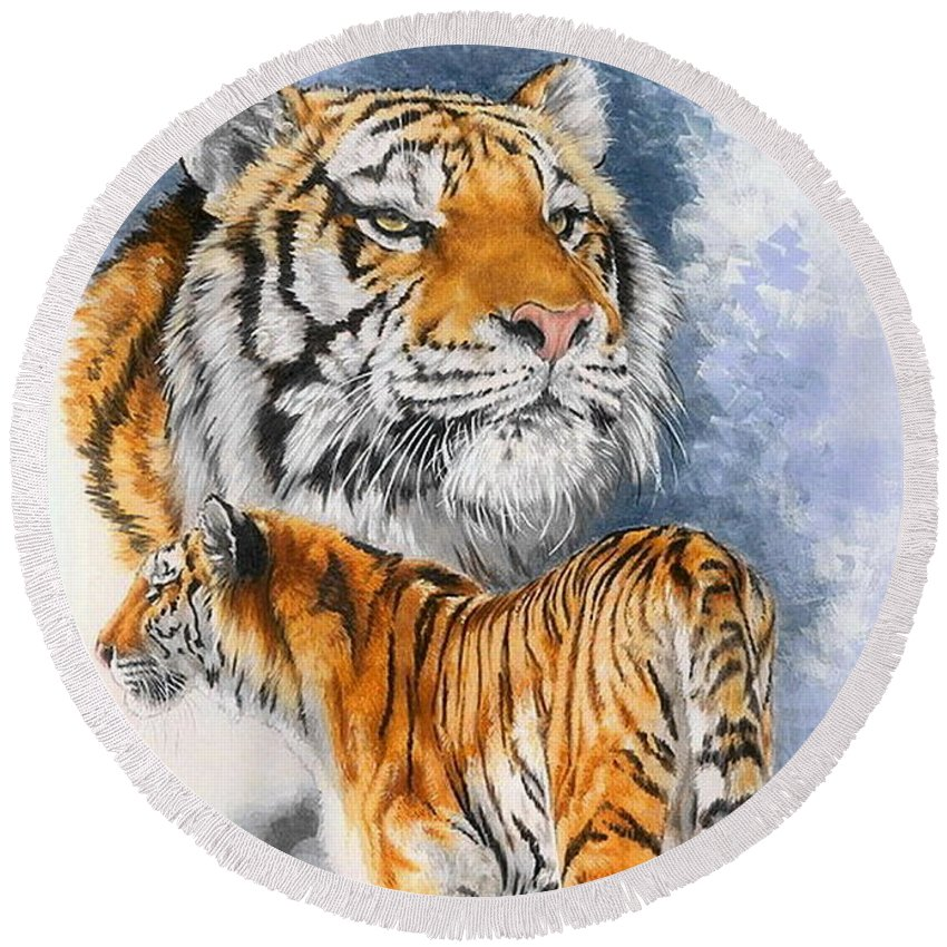 Big Cats Round Beach Towel featuring the mixed media Forceful by Barbara Keith