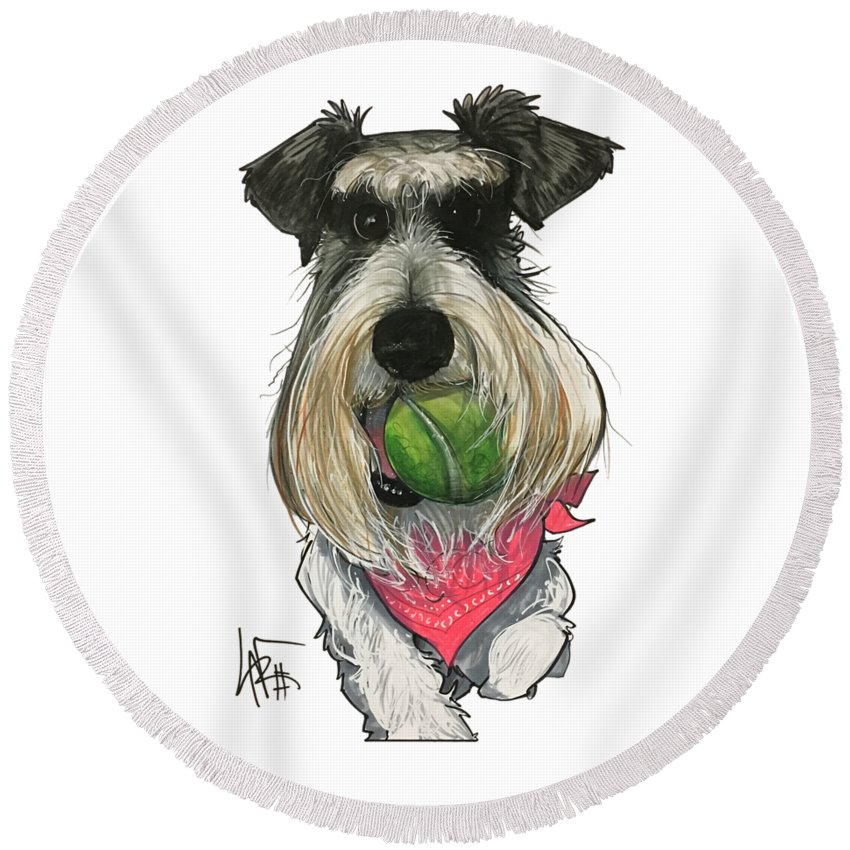 Pet Portrait Round Beach Towel featuring the drawing Ford 3235 Miley by John LaFree