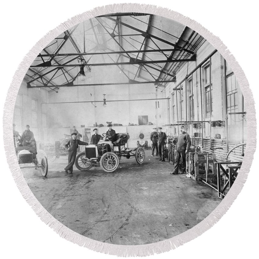 1905 Round Beach Towel featuring the photograph Ford Auto Factory by Granger