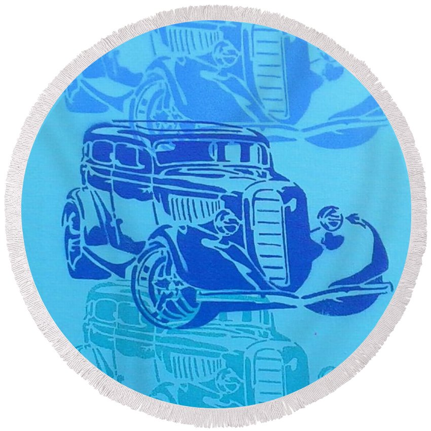 Cars Round Beach Towel featuring the painting Ford Coupe 34 by Leon Keay