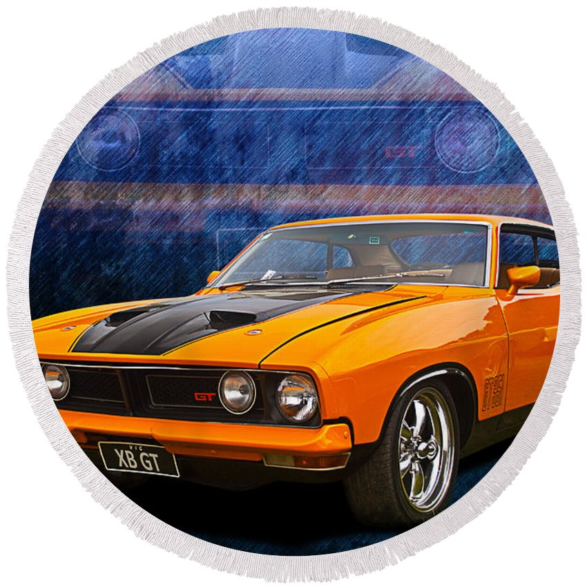 Ford Round Beach Towel featuring the photograph Ford Falcon Xb 351 Gt Coupe by Stuart Row