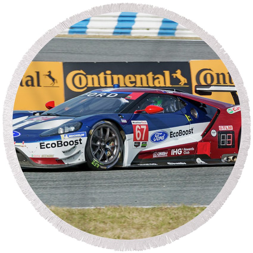 Automobile Round Beach Towel Featuring The Photograph Ford Gt Winner Gtlm Class Of The  Rolex