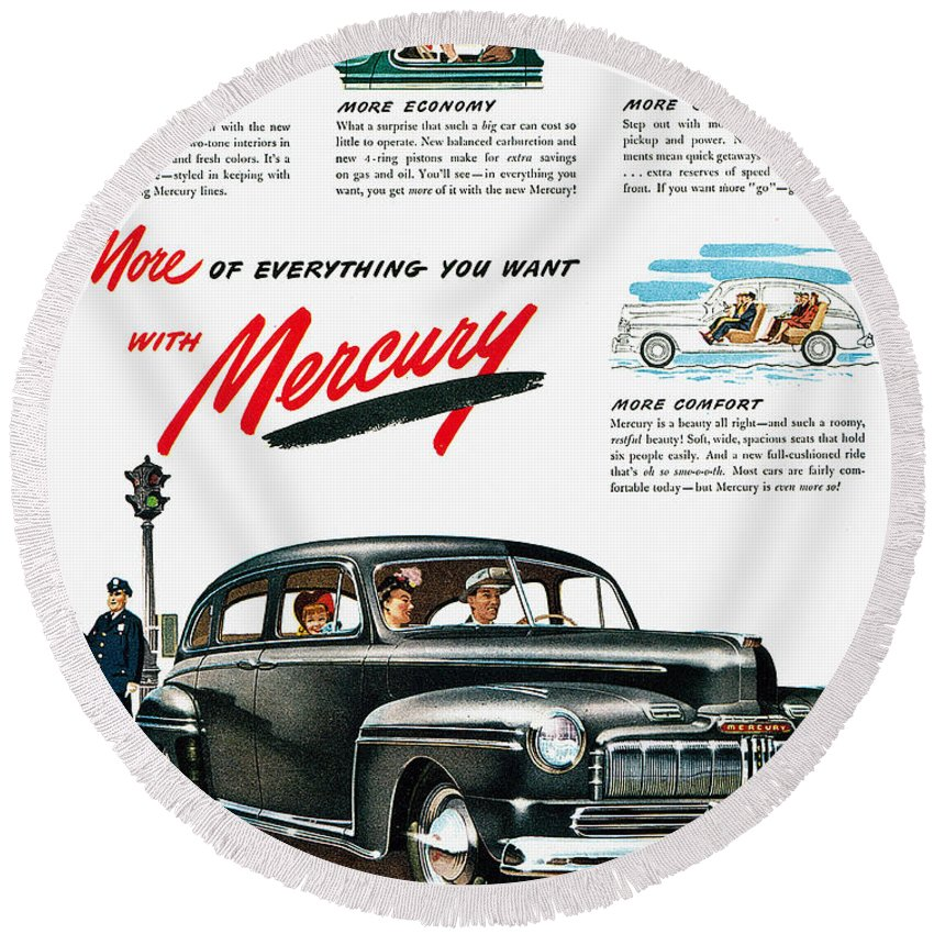 1946 Round Beach Towel featuring the photograph Ford Mercury Ad, 1946 by Granger