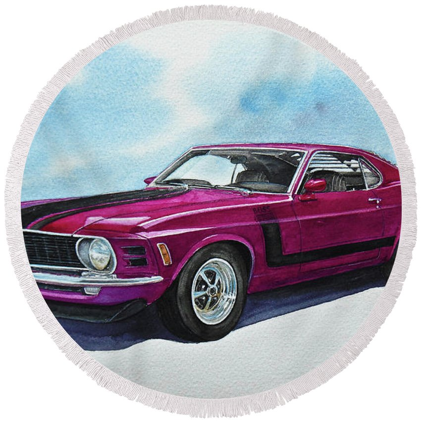 Ford Mustang Boss 302 Round Beach Towel featuring the painting Ford Mustang Boss 302 by Marek Ptak