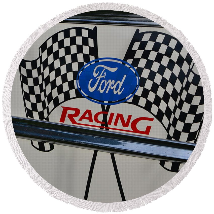 Round Beach Towel featuring the photograph Ford Racing Emblem by Dean Ferreira