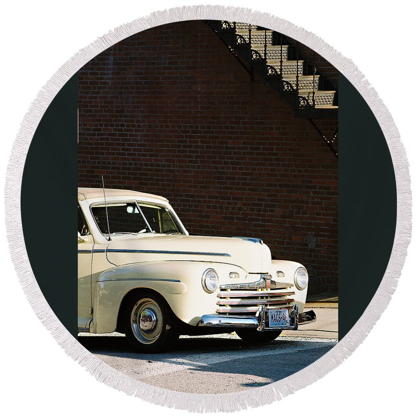 Car Round Beach Towel featuring the photograph Ford by Steve Karol
