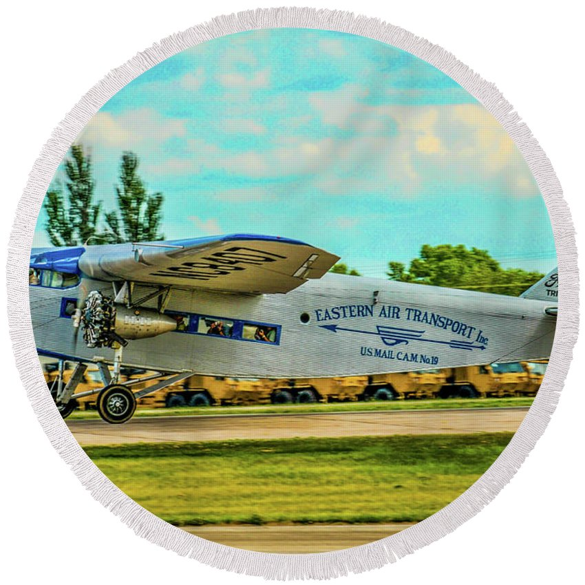 Aviation Round Beach Towel featuring the photograph Ford Tri-motor by Tommy Anderson