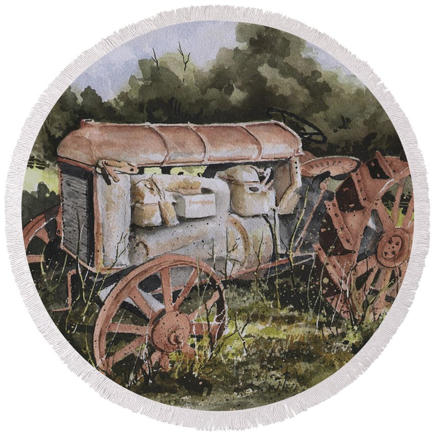Farm Round Beach Towel featuring the painting Fordson Model F by Sam Sidders